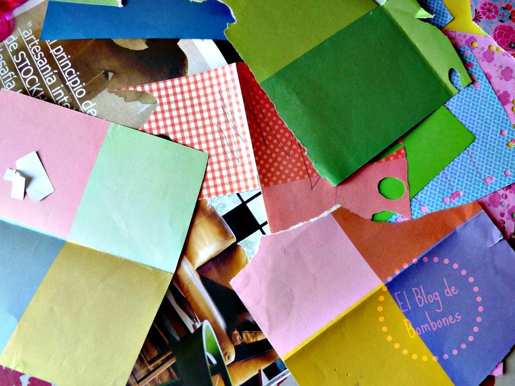 Hacemos un mosaico con papeles de colores el blog de Papeles murales con diseno de paisajes