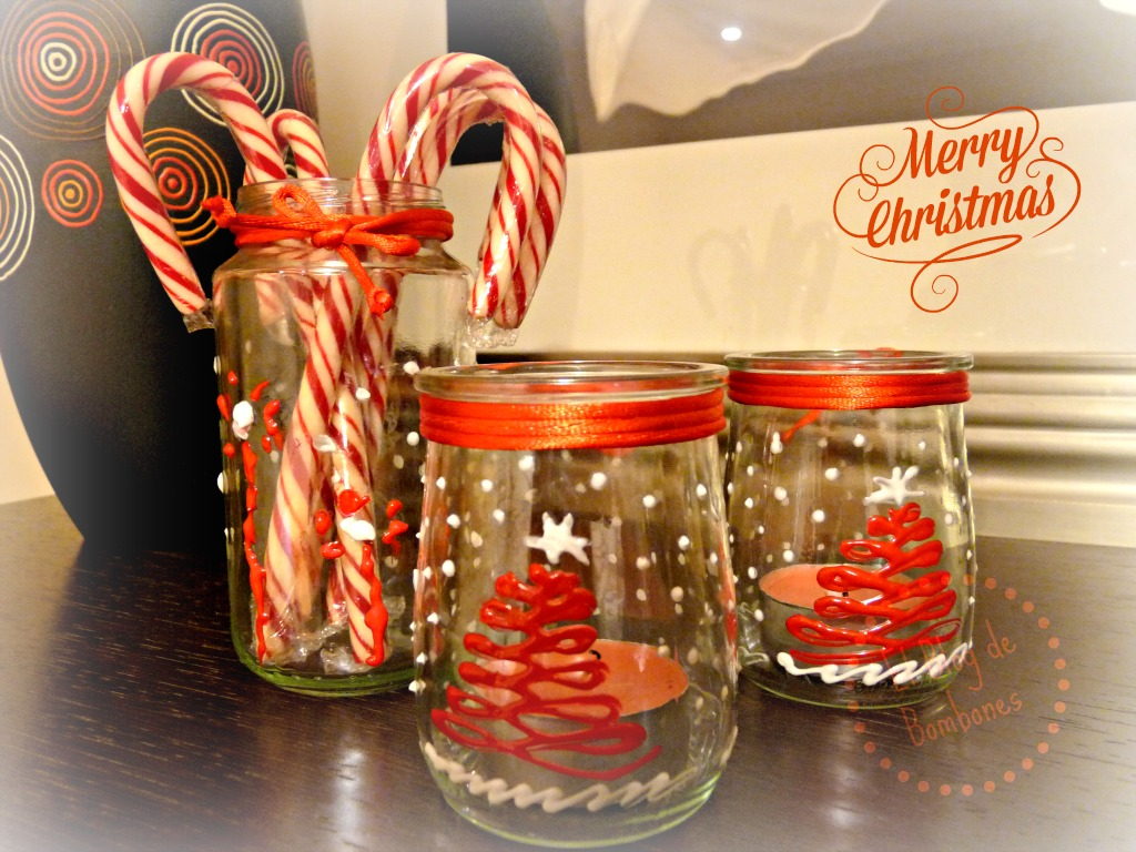 Porta velas navide os el blog de bombones for Frascos decorados para navidad