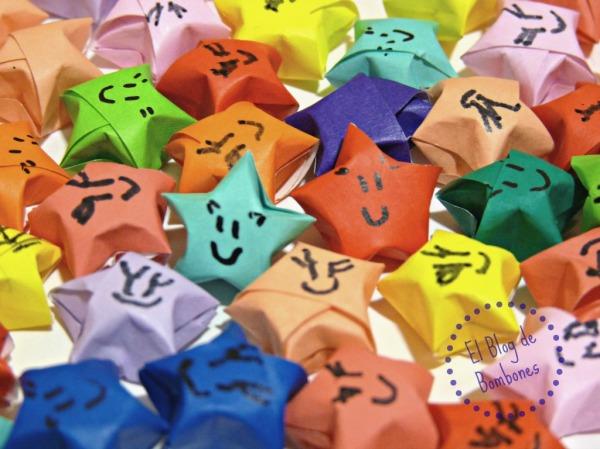 Estrellas de la suerte de origami