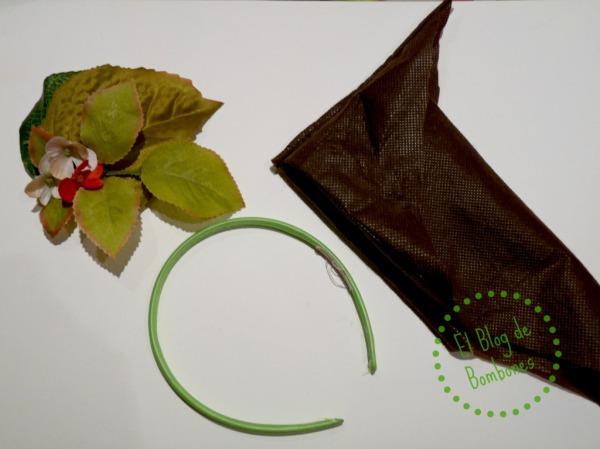Materiales para el tocado de castaña