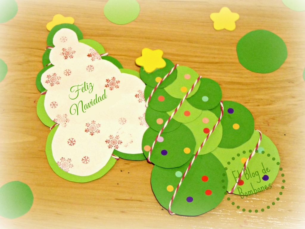 Christmas navide os con rboles de cartulina el blog de - Tarjeta de navidad manualidades ...
