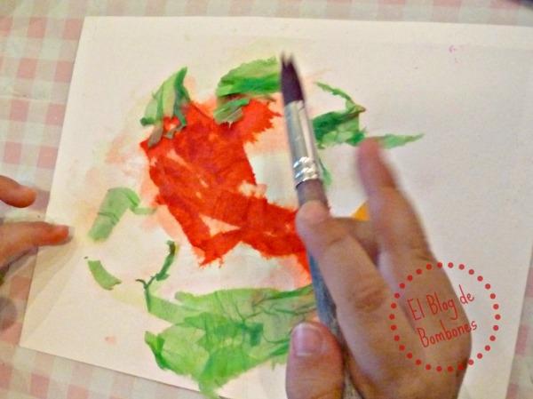 Pintura con papel crepé