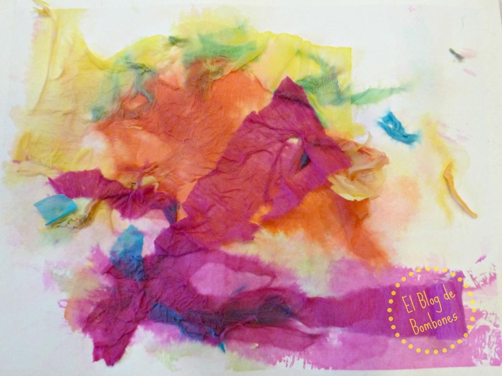 composicin con papel crep with con papel pintado y pintura