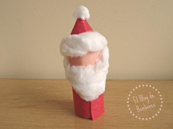 Como convertir un tubo de cartón en Papá Noel